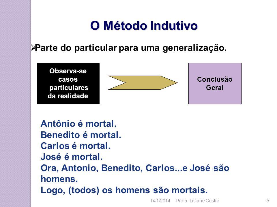O Método Indutivo Observa-se casos particulares da realidade Conclusão Geral Antônio é mortal. Benedito é mortal. Carlos é mortal. José é mortal. Ora,