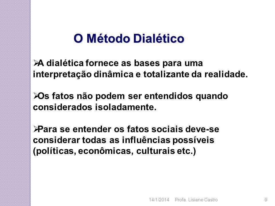 O Método Dialético A dialética fornece as bases para uma interpretação dinâmica e totalizante da realidade. Os fatos não podem ser entendidos quando c