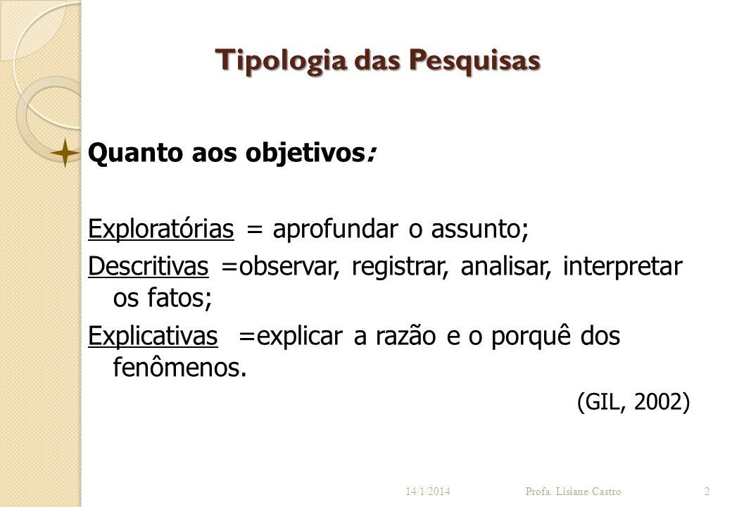 Tipologia das Pesquisas 14/1/2014Profa. Lisiane Castro2 Quanto aos objetivos: Exploratórias = aprofundar o assunto; Descritivas =observar, registrar,