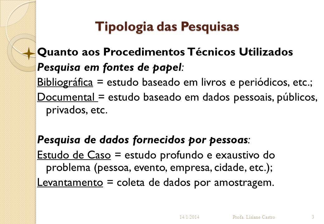 Tipologia das Pesquisas Quanto aos Procedimentos Técnicos Utilizados Pesquisa em fontes de papel: Bibliográfica = estudo baseado em livros e periódico