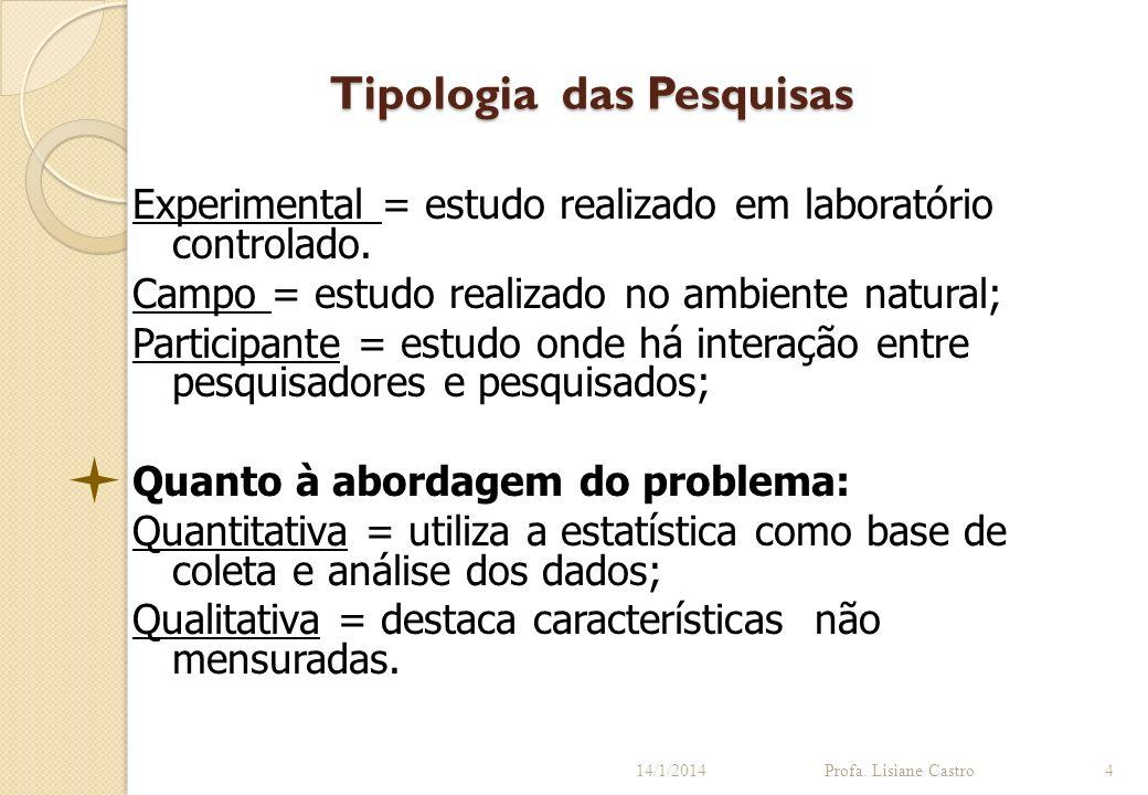 Tipologia das Pesquisas 14/1/2014Profa. Lisiane Castro4 Experimental = estudo realizado em laboratório controlado. Campo = estudo realizado no ambient