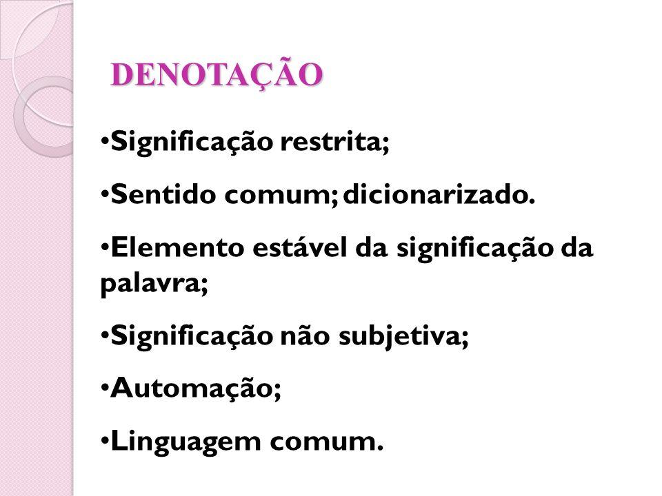DENOTAÇÃO Significação restrita; Sentido comum; dicionarizado. Elemento estável da significação da palavra; Significação não subjetiva; Automação; Lin