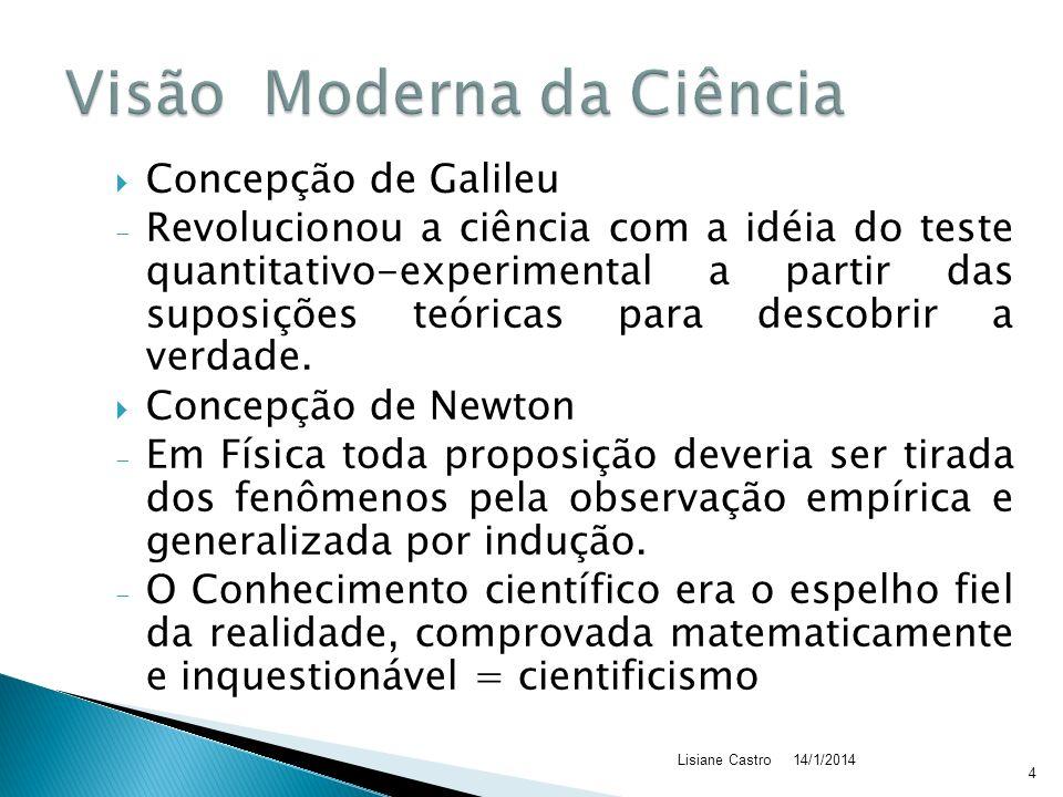 Concepção de Galileu - Revolucionou a ciência com a idéia do teste quantitativo-experimental a partir das suposições teóricas para descobrir a verdade.