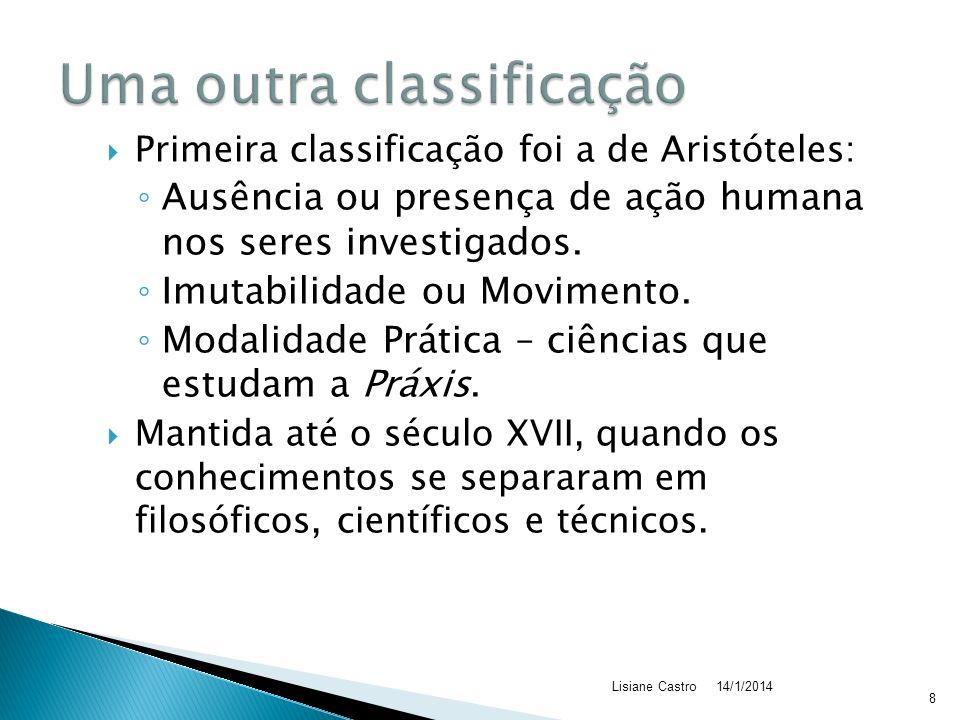 Primeira classificação foi a de Aristóteles: Ausência ou presença de ação humana nos seres investigados.