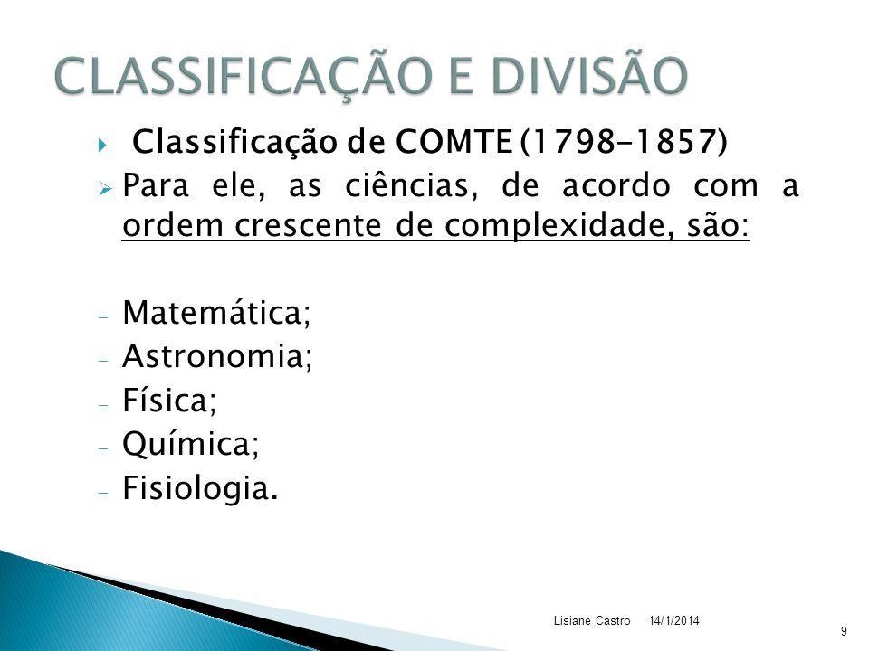 Classificação de COMTE (1798-1857) Para ele, as ciências, de acordo com a ordem crescente de complexidade, são: - Matemática; - Astronomia; - Física; - Química; - Fisiologia.