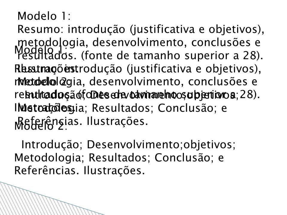 Modelo 1: Resumo: introdução (justificativa e objetivos), metodologia, desenvolvimento, conclusões e resultados. (fonte de tamanho superior a 28). Ilu