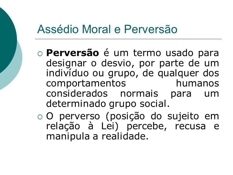 Assédio Moral e Perversão Perversão é um termo usado para designar o desvio, por parte de um indivíduo ou grupo, de qualquer dos comportamentos humano