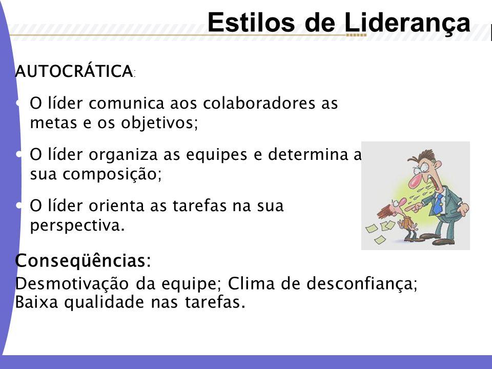 Estilos de Liderança AUTOCRÁTICA : O líder comunica aos colaboradores as metas e os objetivos; O líder organiza as equipes e determina a sua composiçã