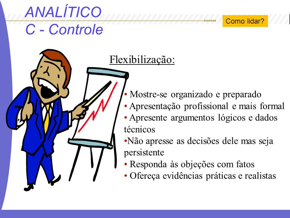 ANALÍTICO C - Controle Flexibilização: Mostre-se organizado e preparado Apresentação profissional e mais formal Apresente argumentos lógicos e dados t