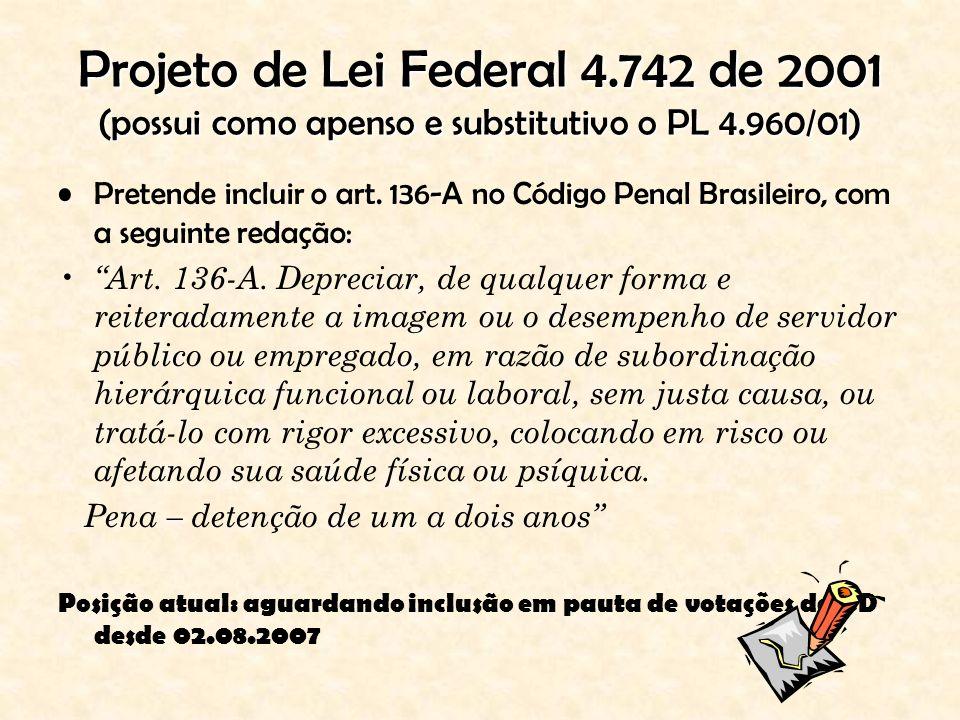 Projeto de Lei Federal 4.742 de 2001 (possui como apenso e substitutivo o PL 4.960/01) Pretende incluir o art. 136-A no Código Penal Brasileiro, com a