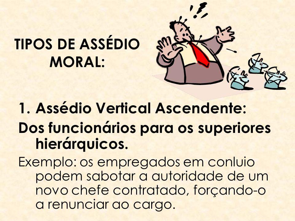 TIPOS DE ASSÉDIO MORAL: 1.Assédio Vertical Ascendente: Dos funcionários para os superiores hierárquicos. Exemplo: os empregados em conluio podem sabot