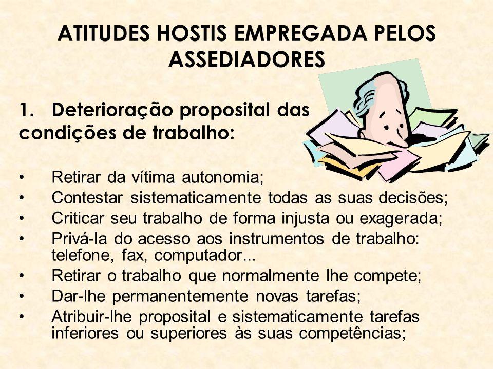 ATITUDES HOSTIS EMPREGADA PELOS ASSEDIADORES 1.Deterioração proposital das condições de trabalho: Retirar da vítima autonomia; Contestar sistematicame