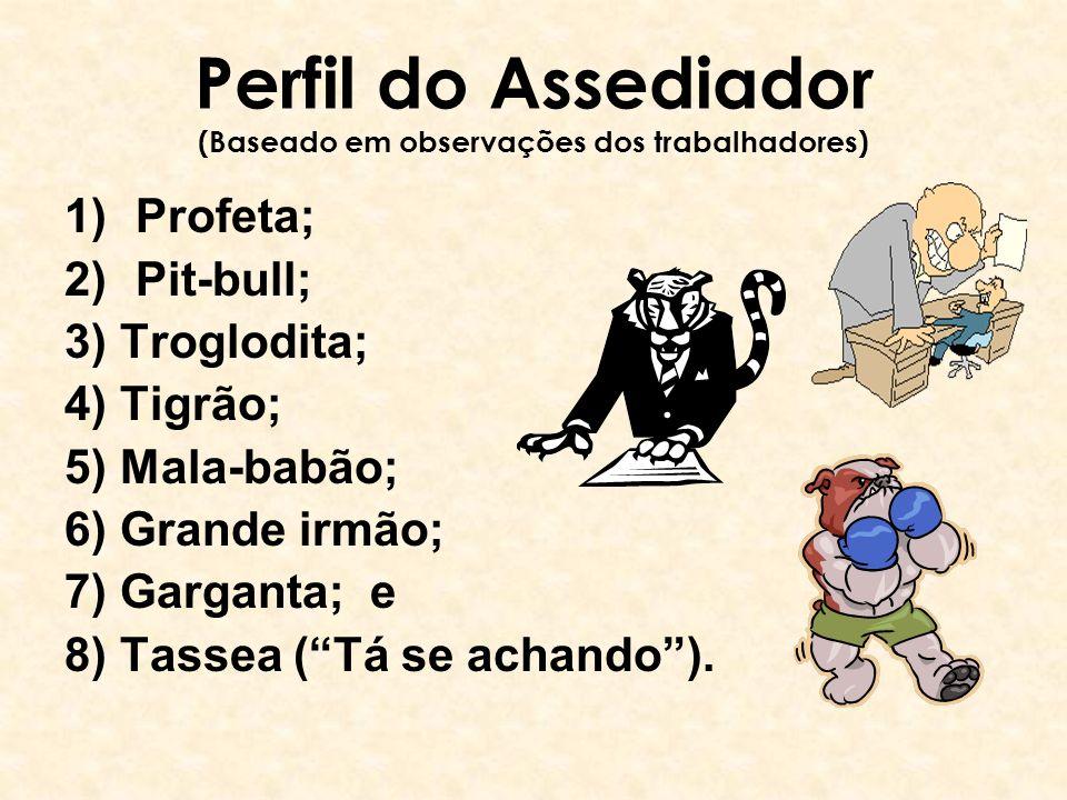 Perfil do Assediador (Baseado em observações dos trabalhadores) 1)Profeta; 2)Pit-bull; 3) Troglodita; 4) Tigrão; 5) Mala-babão; 6) Grande irmão; 7) Ga
