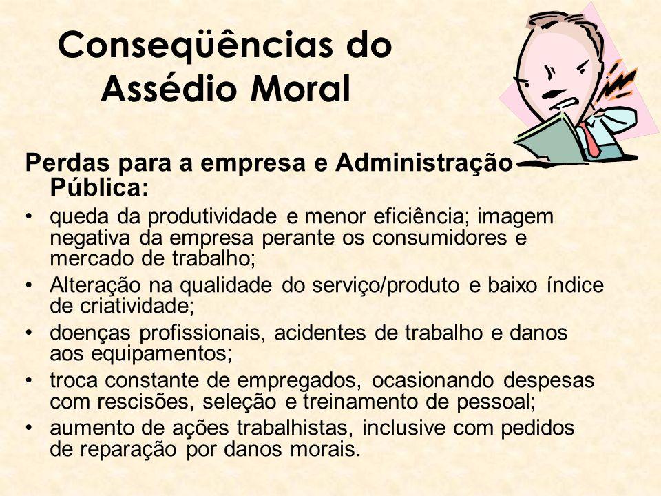 Conseqüências do Assédio Moral Perdas para a empresa e Administração Pública: queda da produtividade e menor eficiência; imagem negativa da empresa pe
