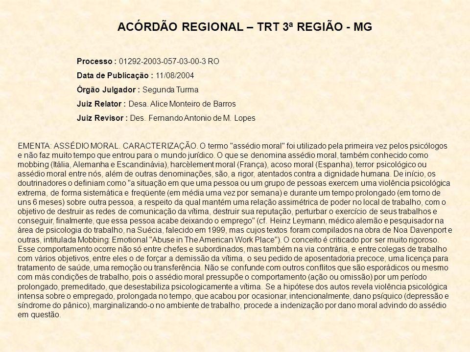 Processo : 01292-2003-057-03-00-3 RO Data de Publicação : 11/08/2004 Órgão Julgador : Segunda Turma Juiz Relator : Desa. Alice Monteiro de Barros Juiz