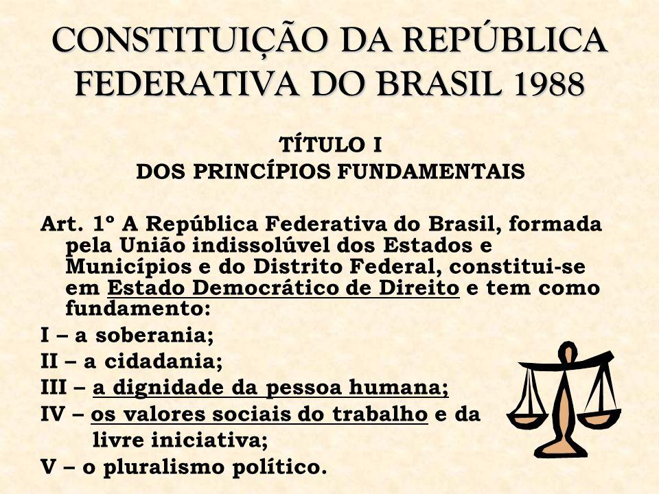 CONSTITUIÇÃO DA REPÚBLICA FEDERATIVA DO BRASIL 1988 TÍTULO I DOS PRINCÍPIOS FUNDAMENTAIS Art. 1º A República Federativa do Brasil, formada pela União