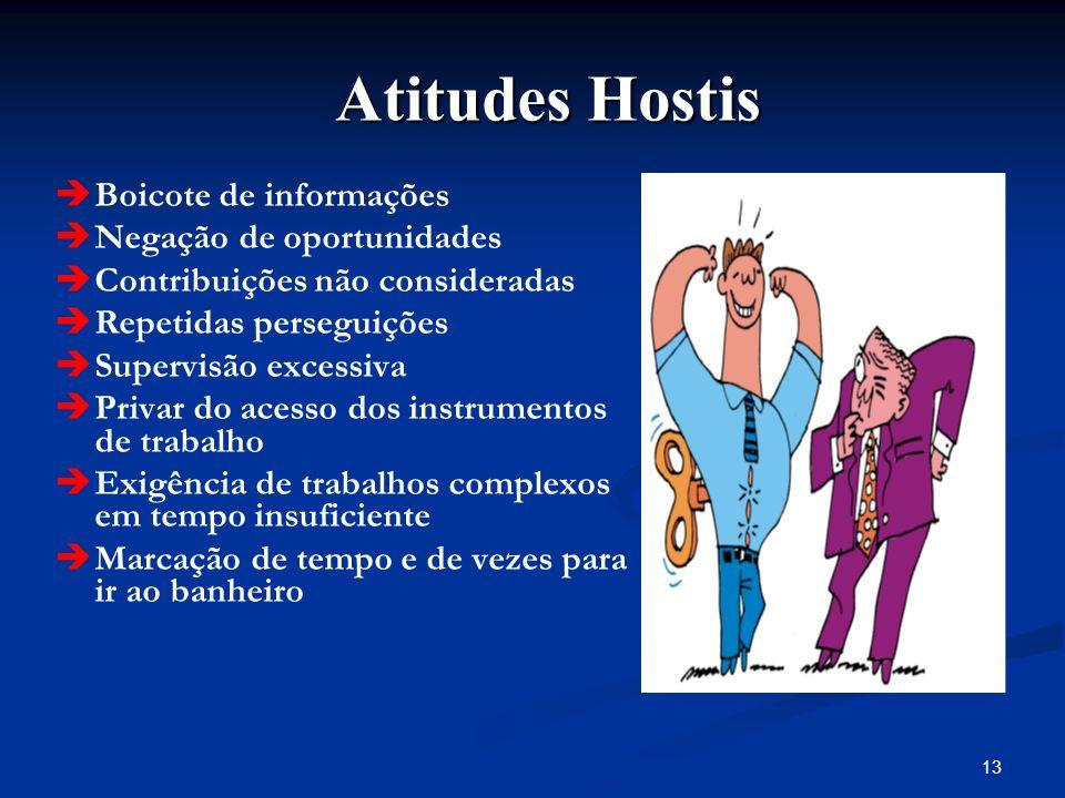 13 Atitudes Hostis Atitudes Hostis Boicote de informações Negação de oportunidades Contribuições não consideradas Repetidas perseguições Supervisão ex