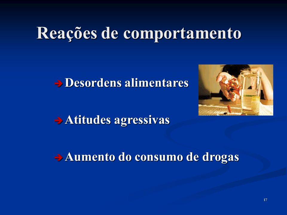 17 Reações de comportamento Desordens alimentares Desordens alimentares Atitudes agressivas Atitudes agressivas Aumento do consumo de drogas Aumento d