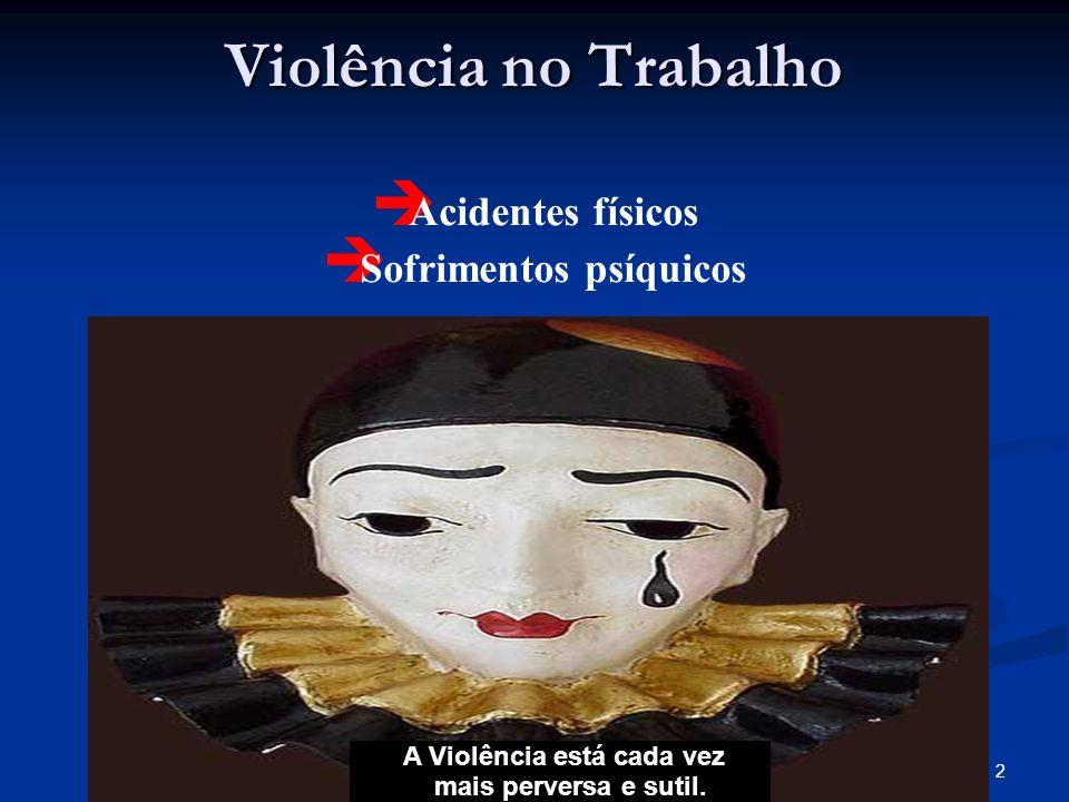 2Verônica Lopes da S. Nascimento Violência no Trabalho Acidentes físicos Sofrimentos psíquicos A Violência está cada vez mais perversa e sutil.