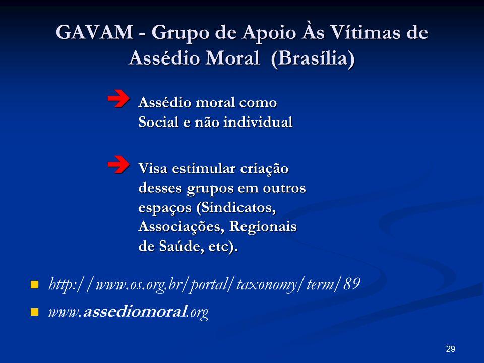 29 GAVAM - Grupo de Apoio Às Vítimas de Assédio Moral (Brasília) Assédio moral como Social e não individual Assédio moral como Social e não individual