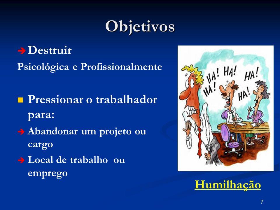 7 Objetivos Destruir Psicológica e Profissionalmente Pressionar o trabalhador para: Abandonar um projeto ou cargo Local de trabalho ou emprego Humilha