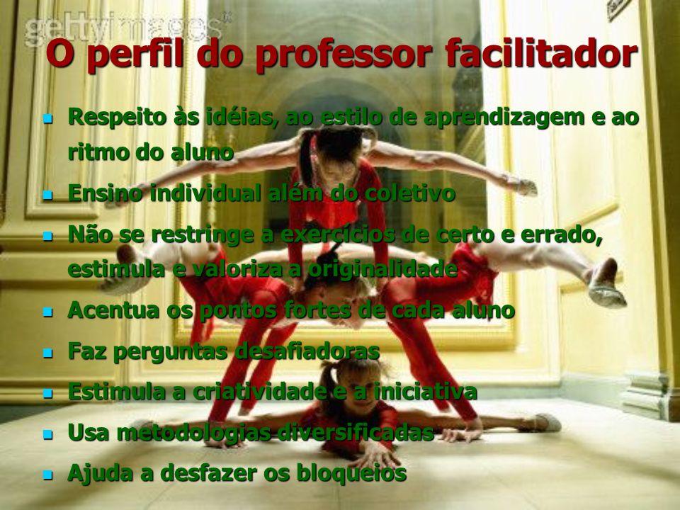 O perfil do professor facilitador Respeito às idéias, ao estilo de aprendizagem e ao ritmo do aluno Respeito às idéias, ao estilo de aprendizagem e ao
