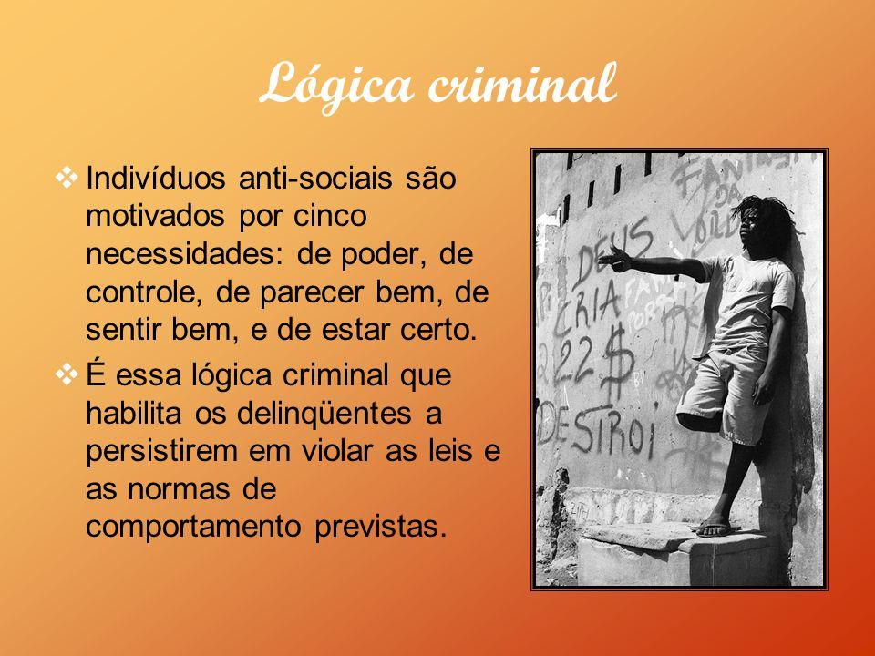 Lógica criminal Indivíduos anti-sociais são motivados por cinco necessidades: de poder, de controle, de parecer bem, de sentir bem, e de estar certo.