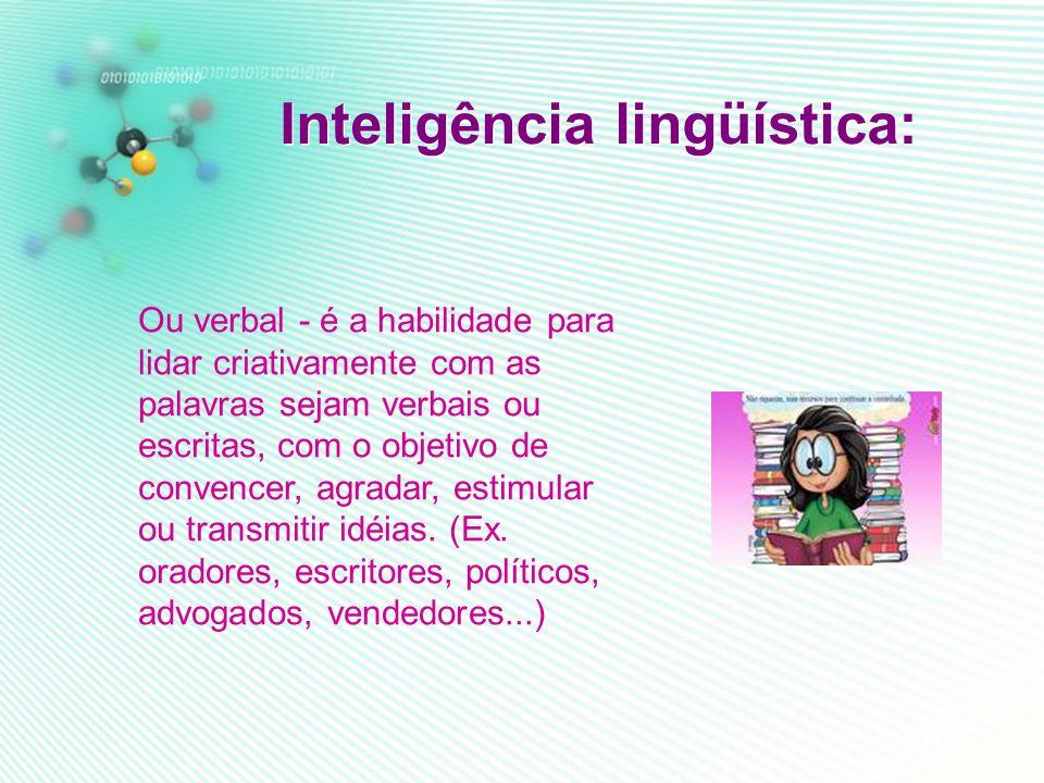 Inteligencia musical: É a capacidade de lidar com sons (com a percep ção dos tons, timbres, ritmos, temas), aprender música, tocar instrumentos (repro