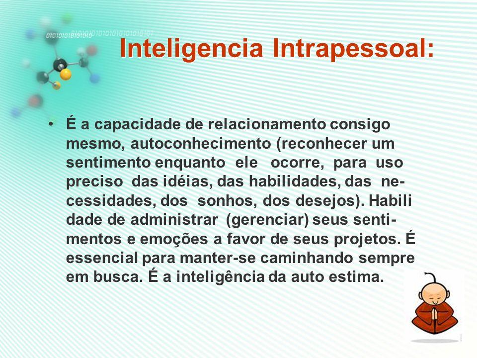 Inteligencia Intrapessoal: Inteligencia Intrapessoal: É a capacidade de relacionamento consigo mesmo, autoconhecimento (reconhecer um sentimento enquanto ele ocorre, para uso preciso das idéias, das habilidades, das ne- cessidades, dos sonhos, dos desejos).