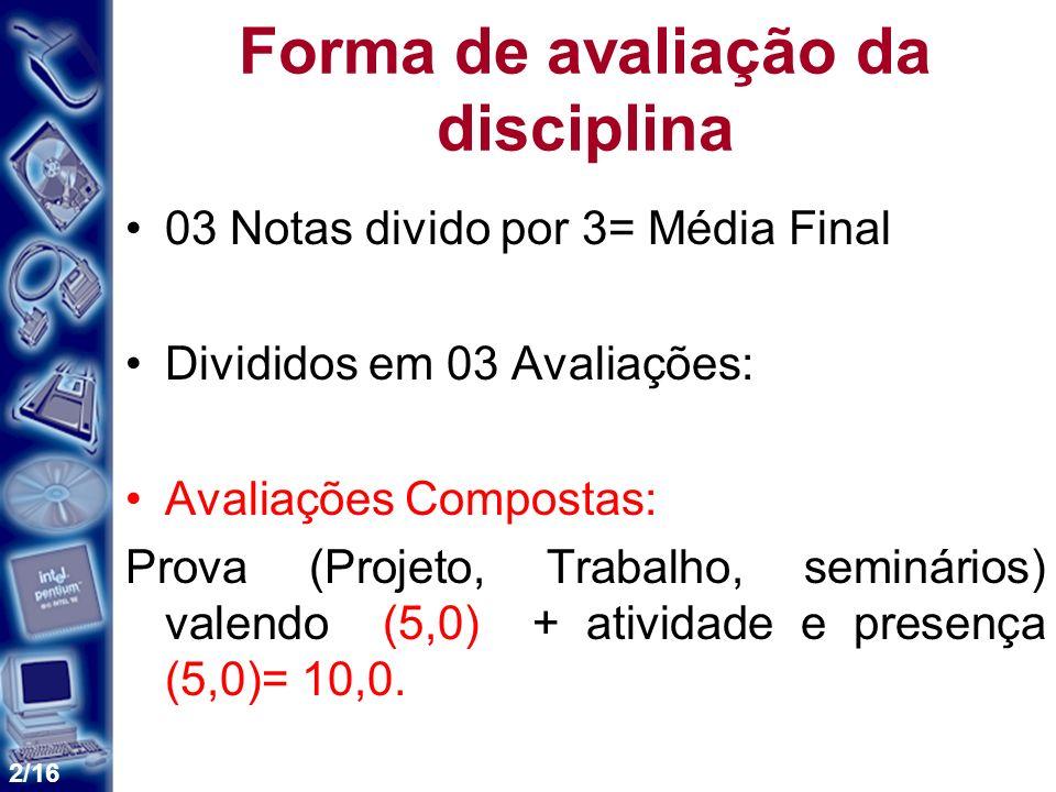 2/16 Forma de avaliação da disciplina 03 Notas divido por 3= Média Final Divididos em 03 Avaliações: Avaliações Compostas: Prova (Projeto, Trabalho, s