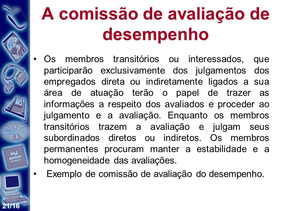 21/16 A comissão de avaliação de desempenho Os membros transitórios ou interessados, que participarão exclusivamente dos julgamentos dos empregados di