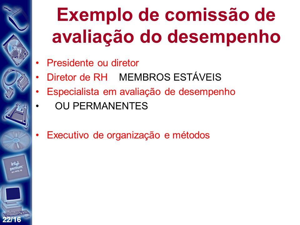 22/16 Exemplo de comissão de avaliação do desempenho Presidente ou diretor Diretor de RH MEMBROS ESTÁVEIS Especialista em avaliação de desempenho OU P