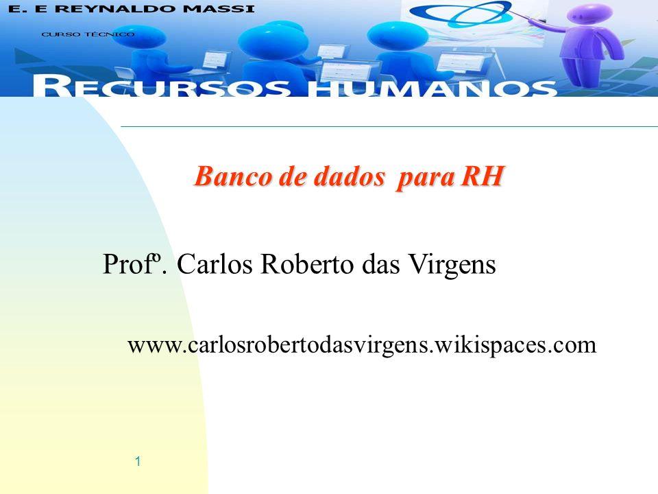 1 Banco de dados para RH Profº. Carlos Roberto das Virgens www.carlosrobertodasvirgens.wikispaces.com