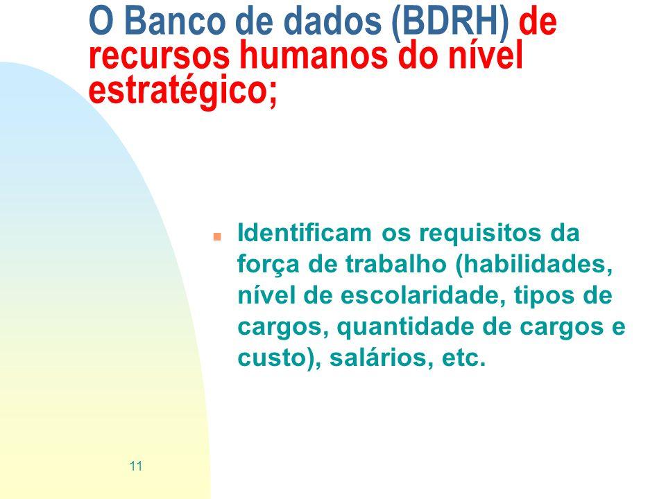 O Banco de dados (BDRH) de recursos humanos do nível estratégico; n Identificam os requisitos da força de trabalho (habilidades, nível de escolaridade
