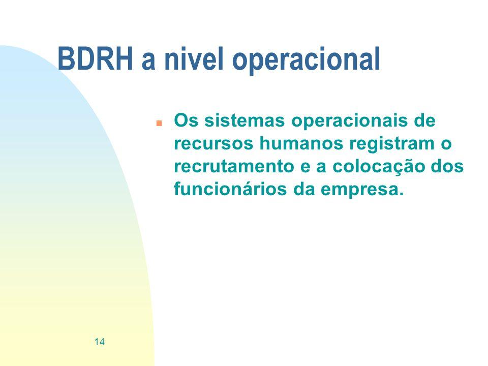 BDRH a nivel operacional n Os sistemas operacionais de recursos humanos registram o recrutamento e a colocação dos funcionários da empresa. 14