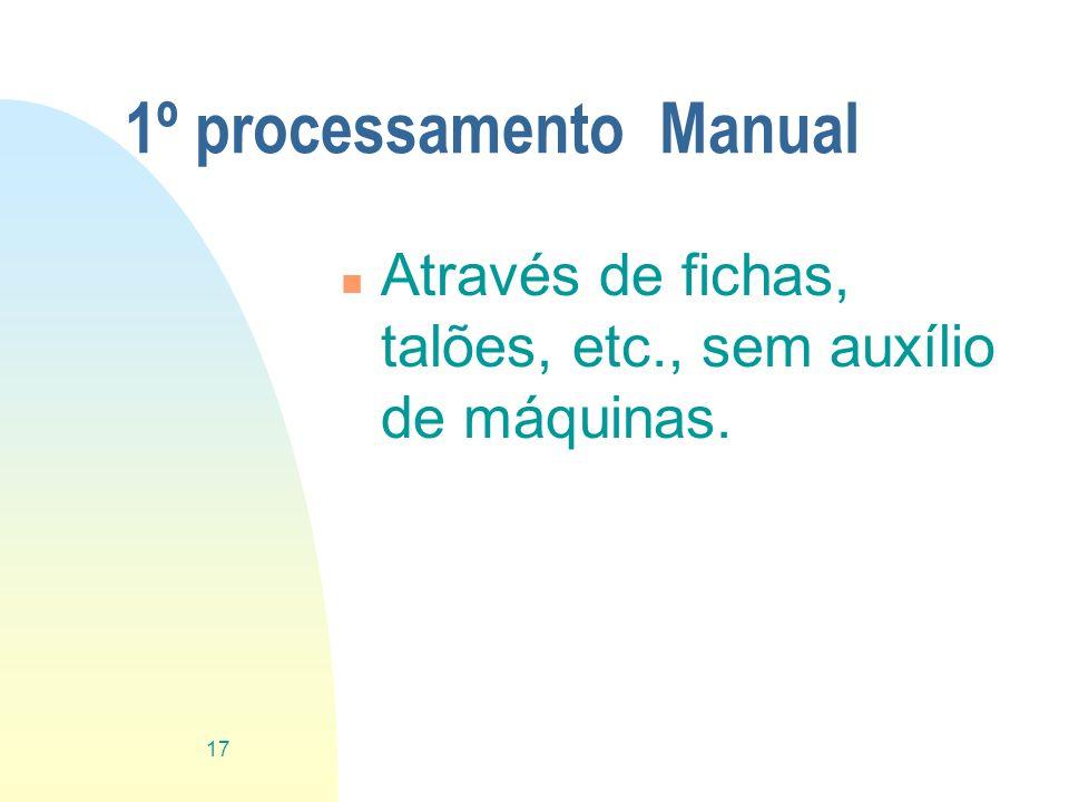 1º processamento Manual n Através de fichas, talões, etc., sem auxílio de máquinas. 17