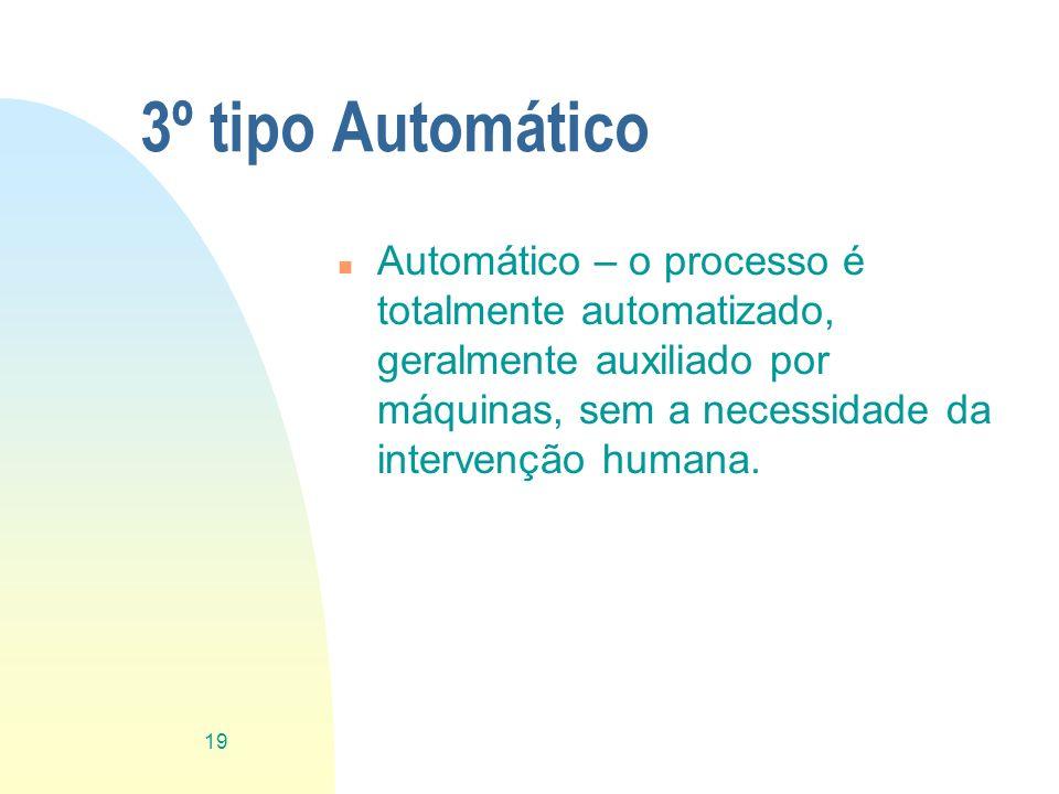 3º tipo Automático n Automático – o processo é totalmente automatizado, geralmente auxiliado por máquinas, sem a necessidade da intervenção humana. 19