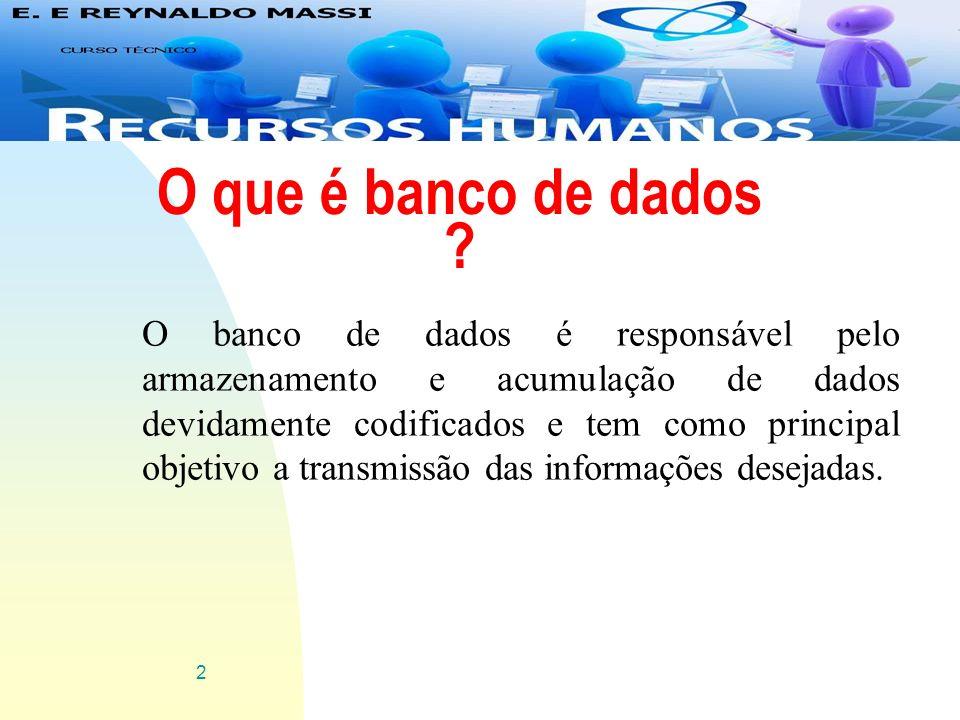 2 O que é banco de dados ? O banco de dados é responsável pelo armazenamento e acumulação de dados devidamente codificados e tem como principal objeti