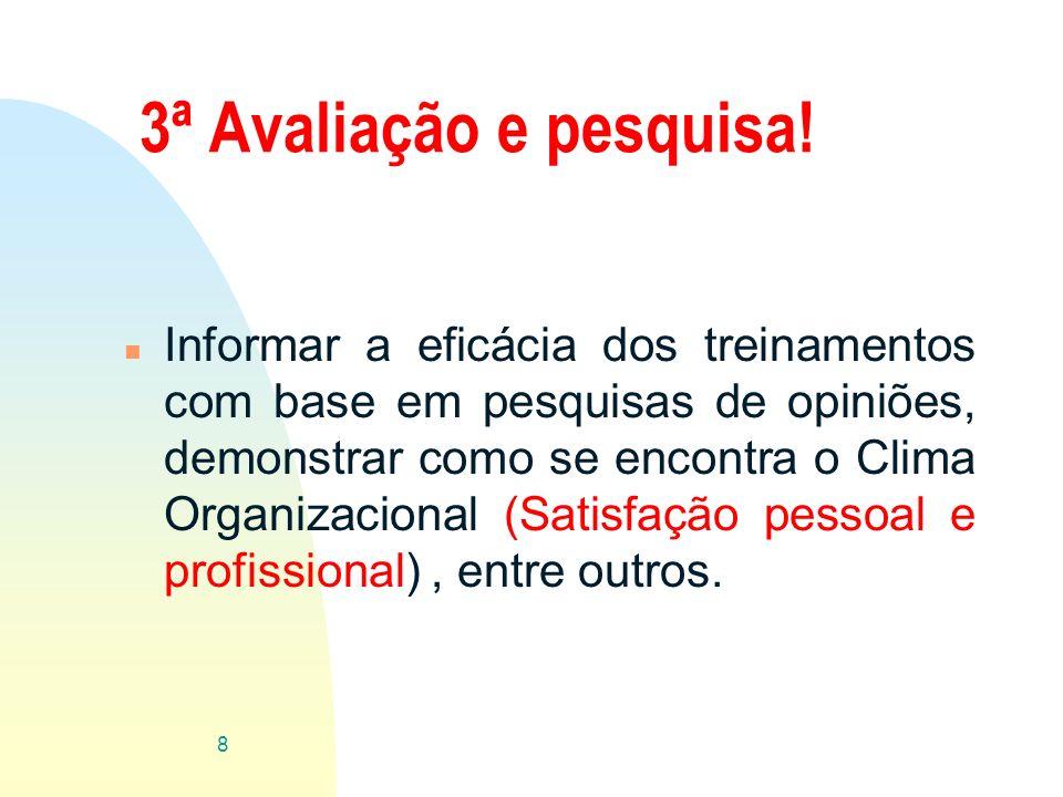 3ª Avaliação e pesquisa! n Informar a eficácia dos treinamentos com base em pesquisas de opiniões, demonstrar como se encontra o Clima Organizacional