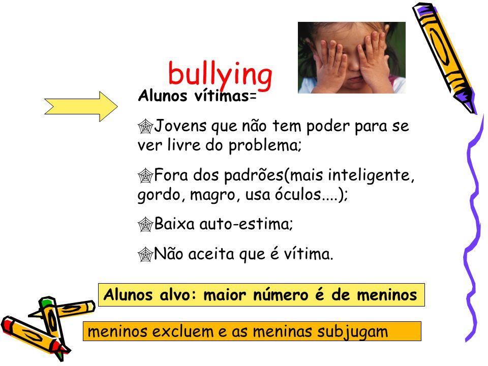 bullying Alunos vítimas= Jovens que não tem poder para se ver livre do problema; Fora dos padrões(mais inteligente, gordo, magro, usa óculos....); Baixa auto-estima; Não aceita que é vítima.