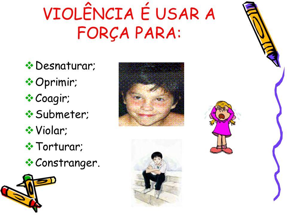 VIOLÊNCIA É USAR A FORÇA PARA: Desnaturar; Oprimir; Coagir; Submeter; Violar; Torturar; Constranger.