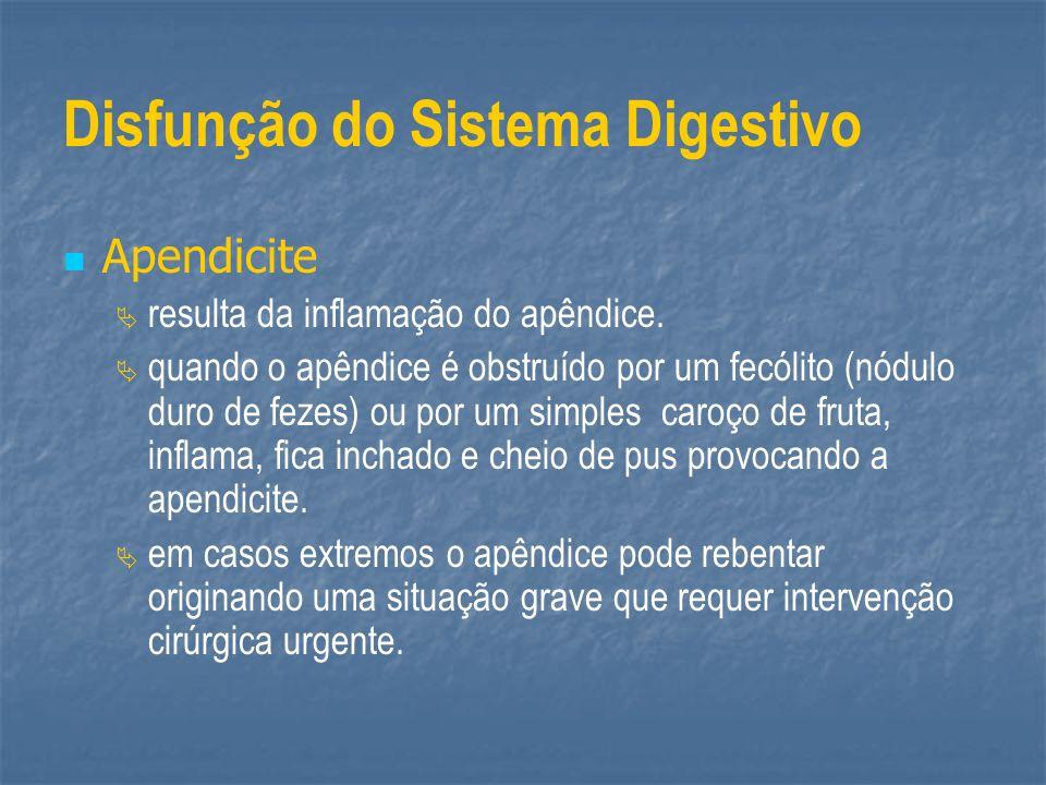 Disfunção do Sistema Digestivo Apendicite resulta da inflamação do apêndice. quando o apêndice é obstruído por um fecólito (nódulo duro de fezes) ou p