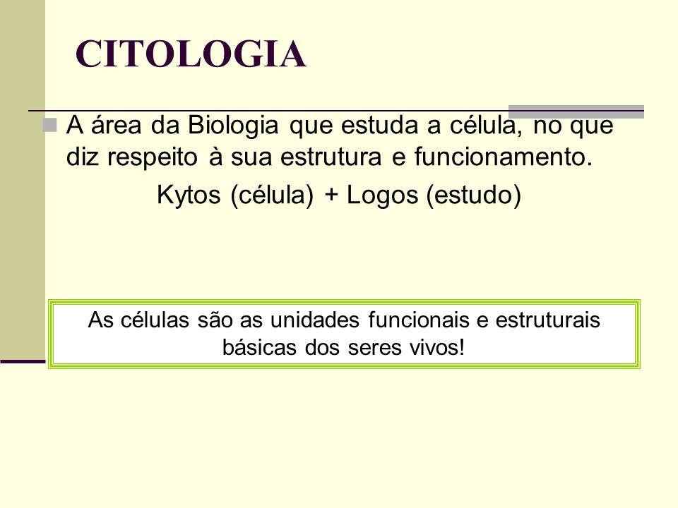 CITOLOGIA A área da Biologia que estuda a célula, no que diz respeito à sua estrutura e funcionamento. Kytos (célula) + Logos (estudo) As células são