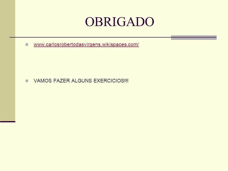 OBRIGADO www.carlosrobertodasvirgens.wikispaces.com/ VAMOS FAZER ALGUNS EXERCICIOS!!!