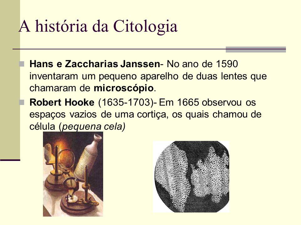 A história da Citologia Hans e Zaccharias Janssen- No ano de 1590 inventaram um pequeno aparelho de duas lentes que chamaram de microscópio. Robert Ho