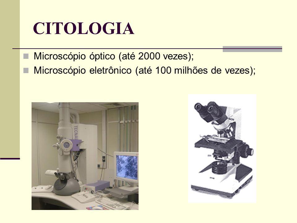 CITOLOGIA Microscópio óptico (até 2000 vezes); Microscópio eletrônico (até 100 milhões de vezes);