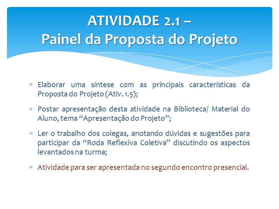 Elaborar uma síntese com as principais características da Proposta do Projeto (Ativ. 1.5); Postar apresentação desta atividade na Biblioteca/ Material
