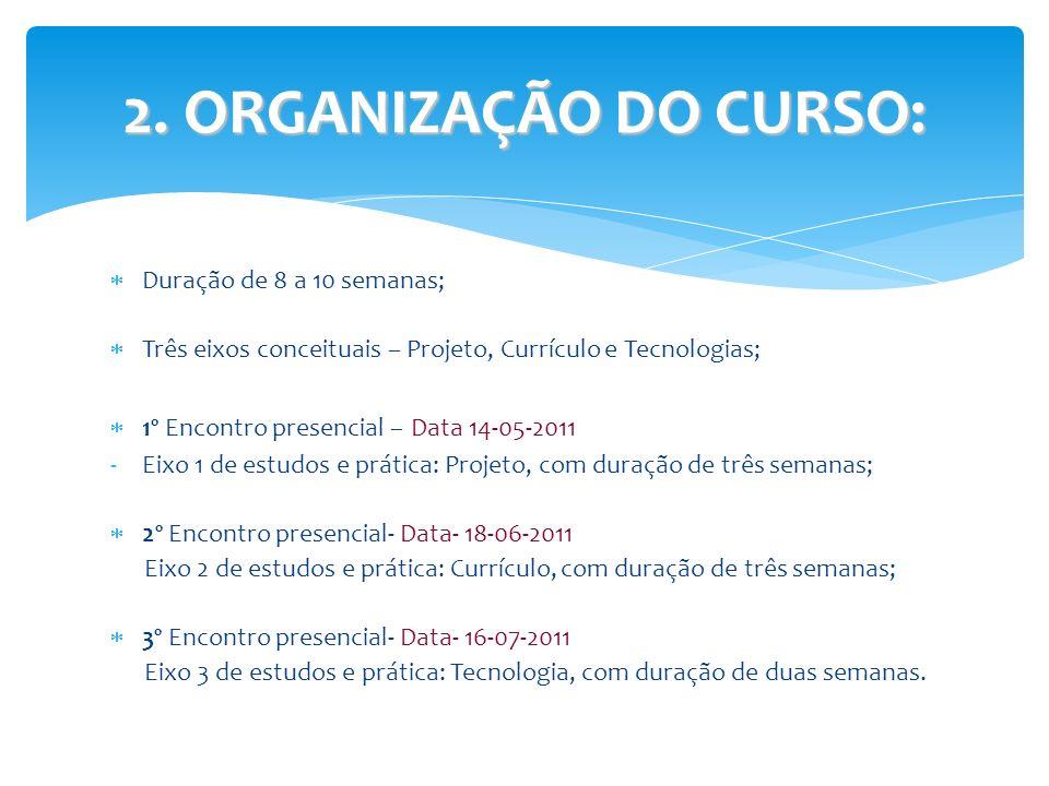 Duração de 8 a 10 semanas; Três eixos conceituais – Projeto, Currículo e Tecnologias; 1º Encontro presencial – Data 14-05-2011 -Eixo 1 de estudos e pr