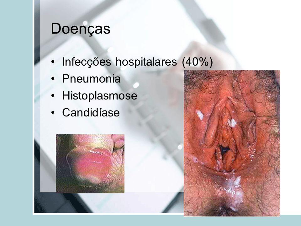 Doenças Infecções hospitalares (40%) Pneumonia Histoplasmose Candidíase