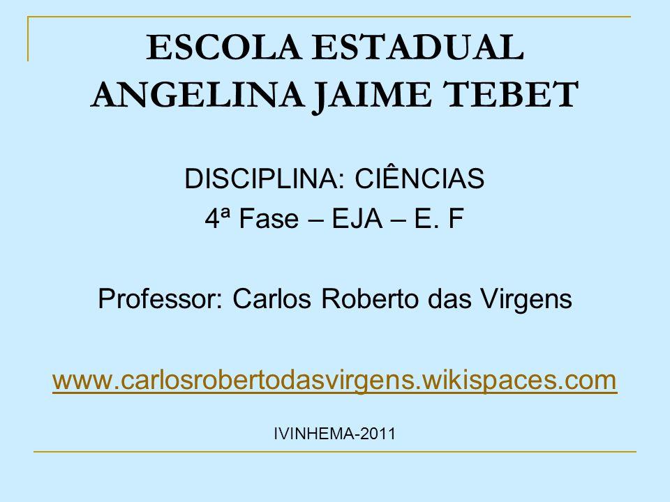 ESCOLA ESTADUAL ANGELINA JAIME TEBET DISCIPLINA: CIÊNCIAS 4ª Fase – EJA – E. F Professor: Carlos Roberto das Virgens www.carlosrobertodasvirgens.wikis